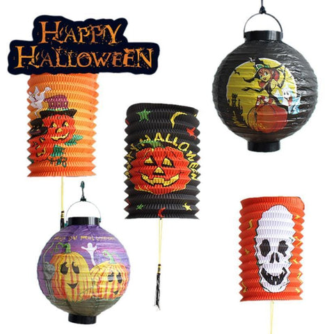 1 PC Halloween Party Decorations Paper Spider Ghost Bats Lantern Home Pumpkin Bat Ghost Spider Horror Skull Banner Treat Party