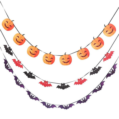 1 Pc Halloween Party Haunted House Decor Pumpkin Bat Skull Garland Banner 3Meters Party Decor DIY Decoration