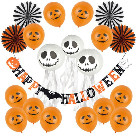 (Orange,Black)Halloween Party Decoration Set Ghost Paper Lanterns Happy Halloween Banner Pumpkin Bat Ballons Paper Fans Streamer