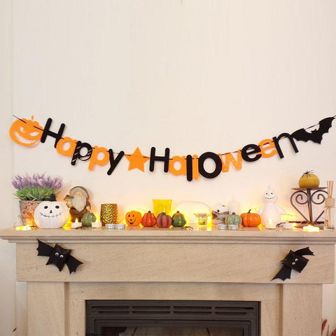 1 Pc Happy Halloween DIY Letter Pumpkin Hanging Pedents Bunting Banner Flag Garland Party Decor Party & Holiday DIY Decorations