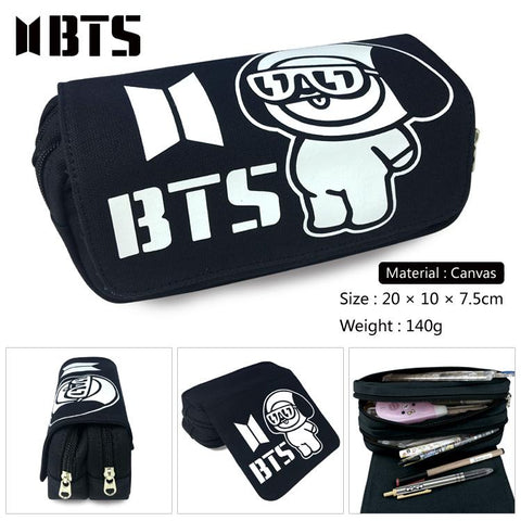 Korean BTS Pencil Case Multifunction School Pencil Bag Large Capacity Canvas Pen Box School Supplies Stationery Purse WalletKawaii Pokemon go  AT_89_9