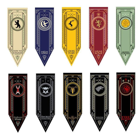 Winter Game of Thrones GOT New s  s Flag Stark & Tully & Targaryen & Lannister & Baratheon & Martell & Bolton Cosplay Flag Model Toys 45*150cm AT_77_7