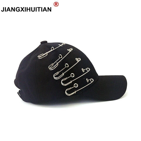 Trendy Winter Jacket 2017 new GD summer Personality Pin Baseball cap Kpop Women Men Curved Brim Plain Blank Snapback Cap Summer dad hat Trucker Hat AT_92_12