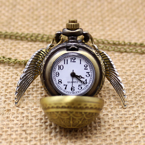 Harry Potter Golden Snitch Quartz Fob Pocket Watch With Sweater Necklace Chain hwd - Animetee - 1