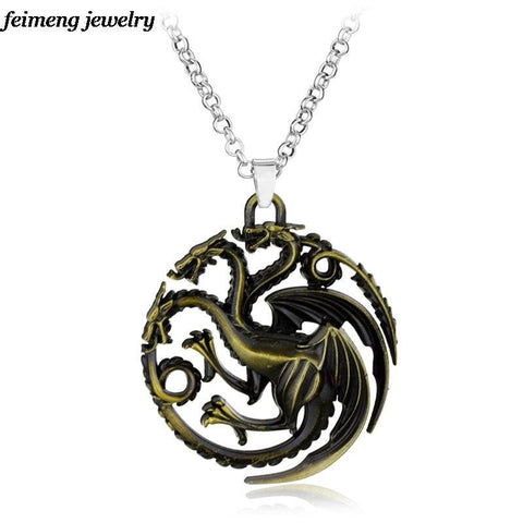 Winter Game of Thrones GOT  Series House Family Crest Targaryen Fire And Blood Three Dragon Pendant &Necklace Gift For Fans Movie Jewelry AT_77_7