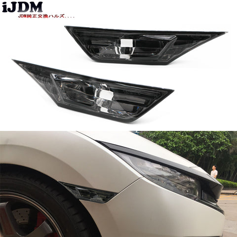 (2) Left & Right JDM Smoked Lens Side Marker Lamp Lens For 2016-up 10th Gen Honda Civic Sedan/Coupe/Hatchback