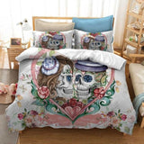 Cool Cilected Mr Mrs Couple Skull Forever Love Duvet Cover Set Pillow Cases 2/3Pcs Bedding Set Wedding Gift Single/Double/King/QueenAT_93_12