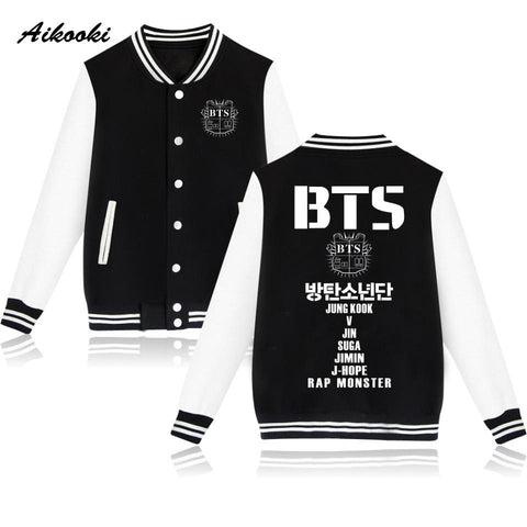 Trendy 2018 BTS Baseball Jacket Women/Men Sweatshirt Women Jacket Korean Popular Bangtan Winter Hoodies Men/Women Casual Jacket Clothes AT_94_13