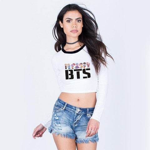 KPOP BTS Bangtan Boys Army Autumn Korean Style Women Harajuku Kawaii  Sweatshirt Crop Top Long Sleeve Shirt Womens Clothes Sweat Femme Cropped Hoodie AT_89_10