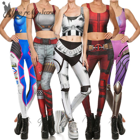 Star Wars Force Episode 1 2 3 4 5 [You're My Secret] Cosplay Constume for Women Wonder Captain America Deadpool Anime  Mermaid Party Crop Top Legging Set AT_72_6