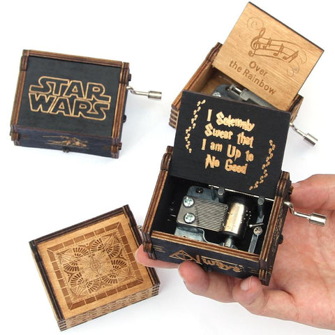 Star Wars Force Episode 1 2 3 4 5 Antique Carved music box casket game of thrones  music box Wooden Hand Crank Theme caja musical gift box AT_72_6