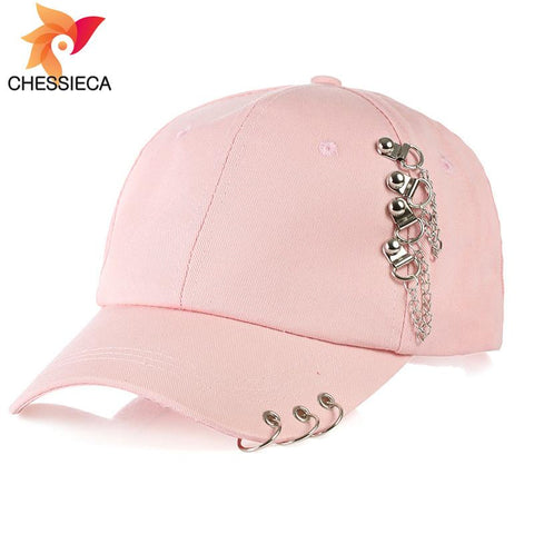 Trendy Winter Jacket CHESSIECA 2018 High Quality Hip Hop Hat BTS Adjustable Iron Ring Baseball Caps Fashion K Pop Snapback Cap Fitted Dad Hats Women AT_92_12