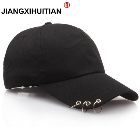 Trendy Winter Jacket 2018 Hot Women Cap Fashion Gd BTS Baseball Cap with Rings Snapback Cap Men Women GD Hip Hop Hat Dance Show Hats Cap Men AT_92_12