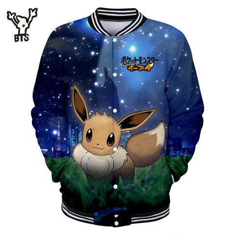 BTS 2018  Lovely Pikachu 3D Cool Fashion Women/Men Autumn Funny Kawaii  Baseball Jacket Spring Jacket Q0739-Q0741Kawaii Pokemon go  AT_89_9
