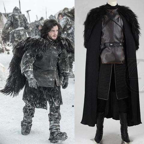 Winter Game of Thrones GOT 2018  Costume Jon Snow Costume Outfit With Coat Halloween Clothing Men Cosplay Costume top+cloak+belt+skirt AT_77_7
