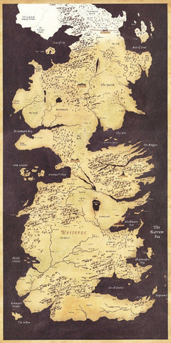 Winter Game of Thrones GOT  World Map Westeros and Essos TV Poster  poster high quality Fabric silk Picture printing Home Decor AT_77_7