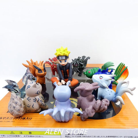 Naruto Sasauke ninja 10pcs/set  Figurine Uzumaki  And Bijuu PVC Figure Collection Model Toys AT_81_8