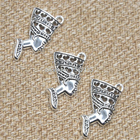 Cool 10pcs Egypt Queen Nefertiti Charm Antique silver tone Nefertiti charm pendant 27x37mmAT_93_12