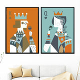 Cool Cartoon King Queen Poker Figure Wall Art Canvas Painting Posters And Prints Nordic Poster Wall Pictures For Living Room DecorAT_93_12
