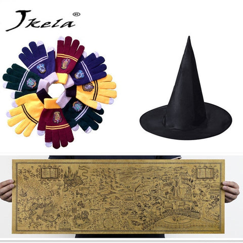 [New] Harry Potter Magic World Map Kraft Paper Cosplay glasses College Gloves Gryffindor Touch Screen necklace Wizard
