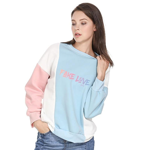 KPOP BTS Bangtan Boys Army  Album Love Yourself Tear Fake Love  Long Sleeve Contrast Color Hoodies Sweatshirt Women Patchwork Pullover Tops Clothes AT_89_10