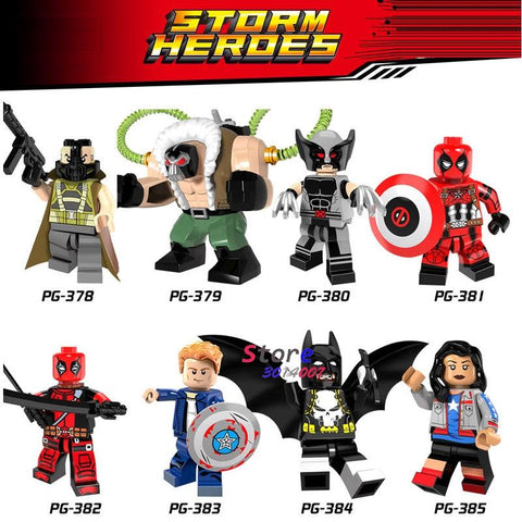 Batman Dark Knight gift Christmas 80pcs super hero Bane Figure Wolverine Deadpool Miss America Captain America Batman model building blocks baby toys for children AT_71_6