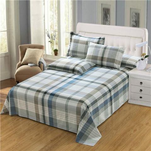 Cool 2017 New Fashion 100%Cotton Stripe Bed flat Sheet Set Gift Adult Queen King Twin full Size 3PCS sheet set pillowcase beddingAT_93_12