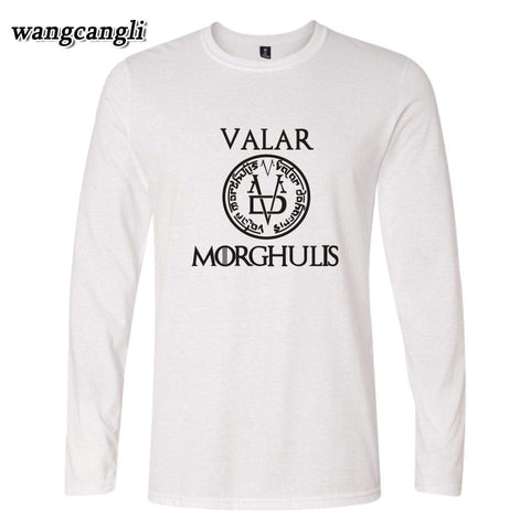 Winter Game of Thrones GOT  VALAR 2017 New Long Sleeve t-shirts Men/Women Autumn Designs Tee Shirt for Plus Size 4xl Hip Hop wangcnagli AT_77_7