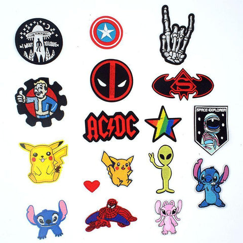 Deadpool Dead pool Taco  Stitch Pikachu Pokemon Acdc Spiderman Alien Hand Patches Fabric Sticker For Clothes Badge Embroidered Appliques DIY AT_70_6
