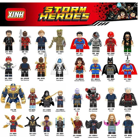 Deadpool Dead pool Taco Diy Marvel Heroes super man Thanos Loki Spider man Iron Man  Tree man Avengers legoings Building Blocks Toys Figures AT_70_6