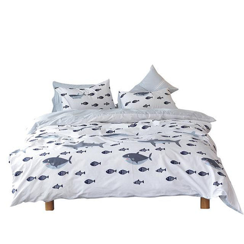 Cool Lai Yin Sun Include Duvet cover Pillow cases BedSheet Shark fish Bedding Sets  Simple 100% Cotton twin queen king sizeAT_93_12