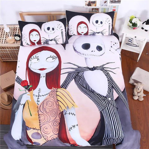 Cool Sugar Skull Comforter Bedding Set King Queen Size Luxury Xmas Nightmare Christmas 3pcs Bed Duvet Covers Single Sheets Set LinenAT_93_12