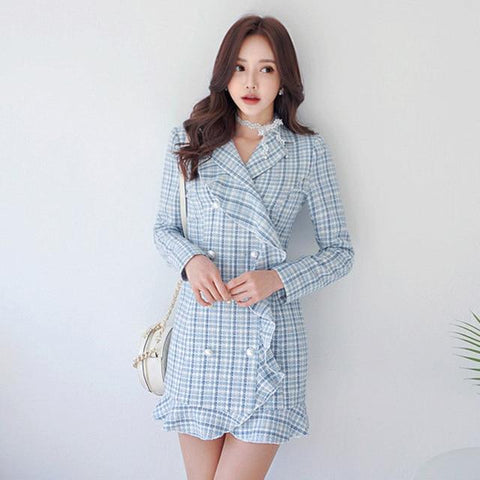 Trendy 2018 Autumn Winter Tweed Jacket Pearls Double-breasted Women's Notched Ruffle Plaid Slim Long Suit Overcoat Small Incense Jacket AT_94_13