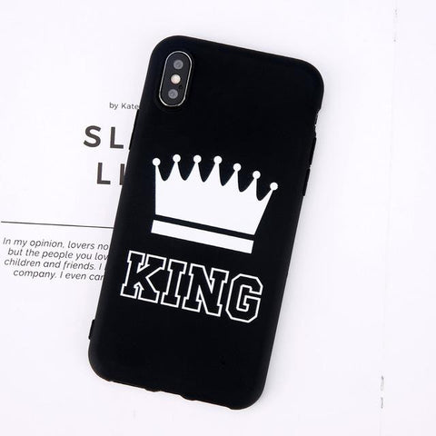 Trendy Moskado King Queen Crown Phone Case For iphone XR XS Max X 8 7 6 6s Plus Case Fashion Stylish Soft TPU Cover For iphone 5 5s SE AT_94_13