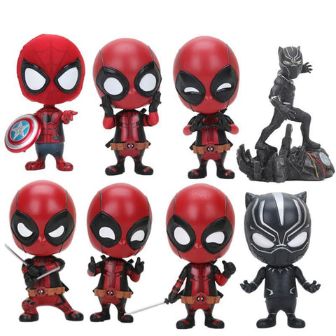 Deadpool Dead pool Taco 10cm  Figure Bobble-Head 1/10 scale painted  spiderman  Black Panther PVC action figure model Brinquedos Dolls AT_70_6