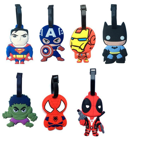 Batman Dark Knight gift Christmas Superman Batman Iron man Hulk Deadpool 7Type Creative Silicone Luggage Tag Pendants Hang Tags Tourist Products Toy Figure 1pc AT_71_6