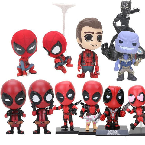 Deadpool Dead pool Taco 10cm  Marvel Toys  katana Sword fighting gesturing Bobble Head Black Panther spider man PVC Action Figure Model Toy AT_70_6