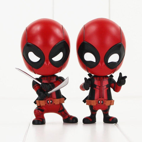 Deadpool Dead pool Taco 10cm  Figure Toy Sword Fighting Version Gesturing Ver Bobble head Model Dolls AT_70_6