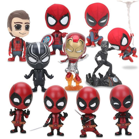 Deadpool Dead pool Taco Marvel The Avengers Figure Superhero  Spiderman Black Panther Q Version Spider-Man PVC Action Figure Model Toy 8-10cm AT_70_6