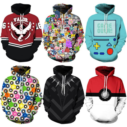 026 Adventure time Poke Ball  Deadpool Printed Women Jacket Hooded Femme Sweatshirt Casual Loose Men Pocket Hoodies CoatKawaii Pokemon go  AT_89_9