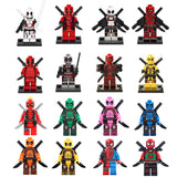Hot 16pcs/lot Compatible LegoINGlys NinjaINGlys  Super Heroes  Deadpool  With Weapons Action Building Blocks Figures toys