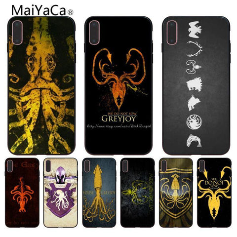 Winter Game of Thrones GOT MaiYaCa  house greyjoy Black st shell For iphone 6 6s 6plus 6S plus 7 7plus 8 8plus 5 5s 5C Case cover AT_77_7