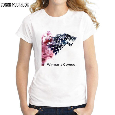 Winter Game of Thrones GOT New women's t-shirt  Shirt Winter is coming stark wolf funny casual t shirt womens summer tshirt women clothing AT_77_7