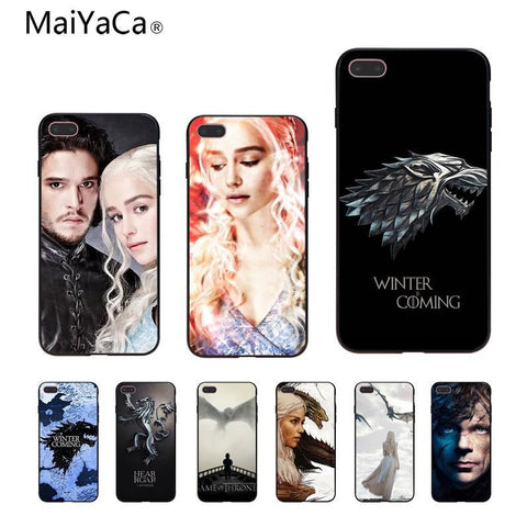 Winter Game of Thrones GOT MaiYaCa  s Wolf Coque Shell Phone Case  For iPhone 5 5s XR SE 6S 6S plus 8 8plus X Mobile cover AT_77_7