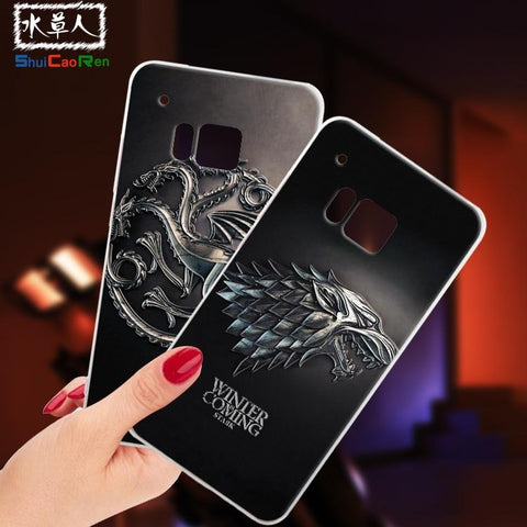 Winter Game of Thrones GOT ShuiCaoRen Silicone Cases For HTC One M9 Case M9E  Black Shell For HTC M9 Cover AT_77_7