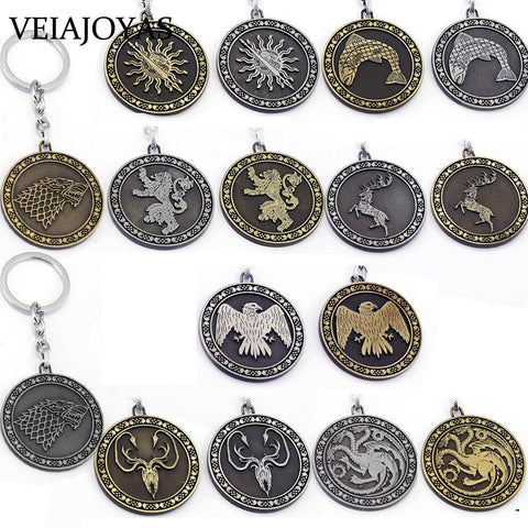 Winter Game of Thrones GOT Full Set  Keychains Song  Ice and Fire Nine Families Badge Key Rings Alloy Charms Keychain Souvenir Men Jewelry AT_77_7