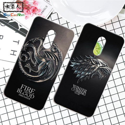 Winter Game of Thrones GOT ShuiCaoRen Silicone Case For Xiaomi Redmi Note 4 Retra  Cover Phone Coque Ice and Fire Fundas For Redmi Note 4X AT_77_7