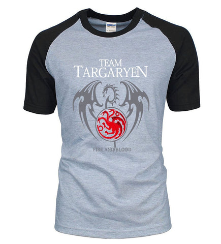Winter Game of Thrones GOT  Dragon Targaryen Fire & Blood Raglan Men T Shirt 2018 New Arrival Summer 100% Cotton Hip Hop Male T-Shirts S-XXL AT_77_7