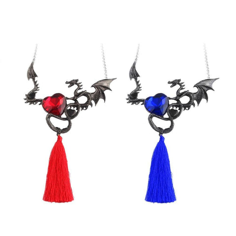 Winter Game of Thrones GOT Fashion Jewelry  Charm Dragon Necklaces Red and blue Tassel Crystal Heart Pendant Cool Accessory For Stage AT_77_7