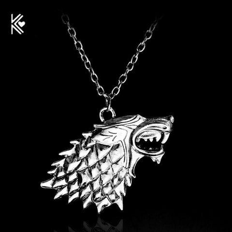 Winter Game of Thrones GOT American Teleplay  Necklace House  Stark Wolf Head Pendant Classic Vintage Men Statement Necklace  AT_77_7